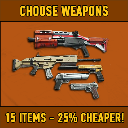 Fortnite: 15 chosen weapons (25% DISCOUNT)