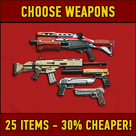 Fortnite: 25 chosen weapons (30% DISCOUNT)
